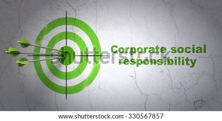 Success finance concept: arrows hitting the center of target, Green Corporate Social Responsibility on wall background - stock photo