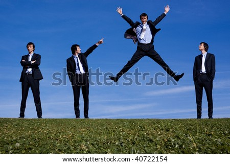 Success for one businessman - stock photo