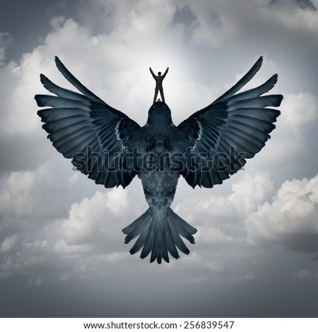 Success freedom business concept as a man riding an open wing bird flying upward as a symbol for reaching career goals or leadership vision. - stock photo
