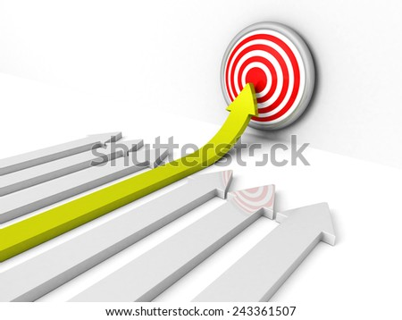 success green rising arow to center of target. Out from crowd. concept 3d render illustration - stock photo