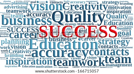 SUCCESS, in a word cloud  with shadow and effects - stock photo