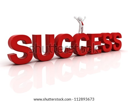 Success in business concept happy 3d man standing on top of the word success over white background with reflection - stock photo