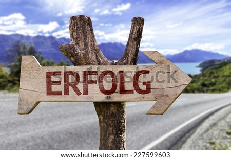 Success (In German) wooden sign with a road background - stock photo