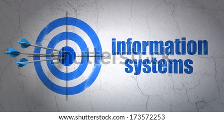Success Information concept: arrows hitting the center of target, Blue Information Systems on wall background, 3d render - stock photo