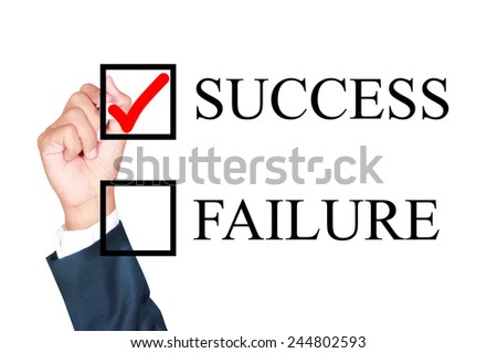 success is answer choose by businessman tick choice whiteboard white background - stock photo