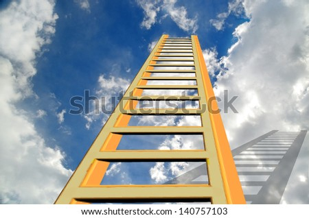 success ladder to the heaven blue sky and clouds - stock photo