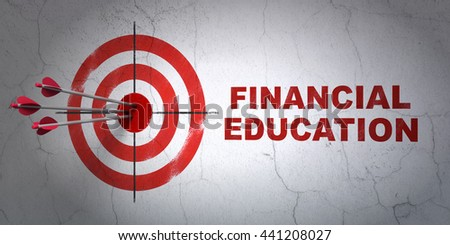 Success Learning concept: arrows hitting the center of target, Red Financial Education on wall background, 3D rendering - stock photo