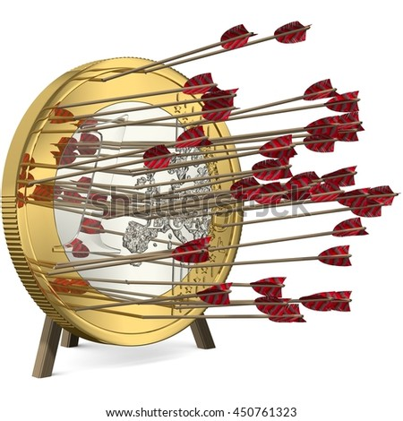 Success - Many Arrows hit the Euro Coin Target - 3d-Illustration - stock photo
