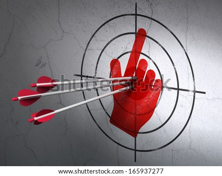 Success marketing concept: arrows hitting the center of Red Mouse Cursor target on wall background, 3d render - stock photo