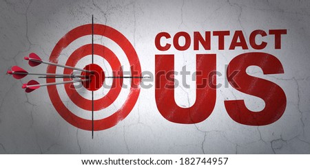 Success marketing concept: arrows hitting the center of target, Red Contact Us on wall background, 3d render - stock photo
