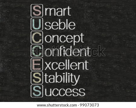 success meaning and stand for written on blackboard, background, high resolution - stock photo