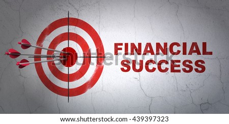 Success money concept: arrows hitting the center of target, Red Financial Success on wall background, 3D rendering - stock photo