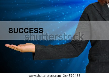 Success on hand Business woman  - stock photo
