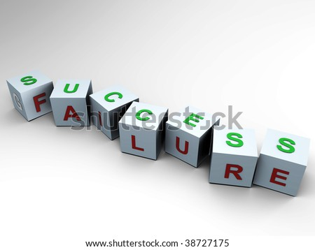 Success or Failure - 3d cubes - stock photo