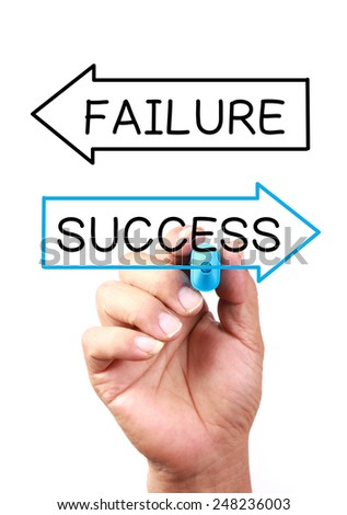 Success or failure drawing on transparent whiteboard. - stock photo