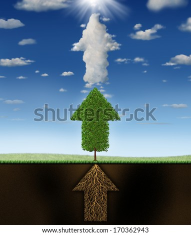 Success program business concept as underground roots of a green tree and clouds all shaped as connected arrows pointing up to a sun as a metaphor for successful planning to achieve winning goals. - stock photo