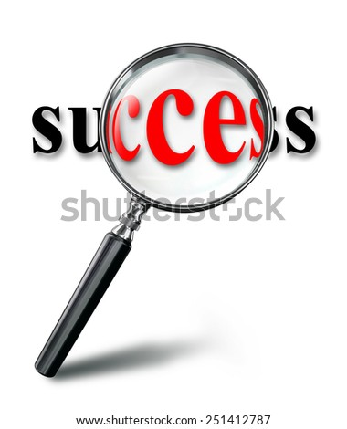 success red word concept with magnifying glass on white background. clipping path included - stock photo