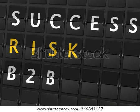 success risk B2B words on airport board background - stock photo