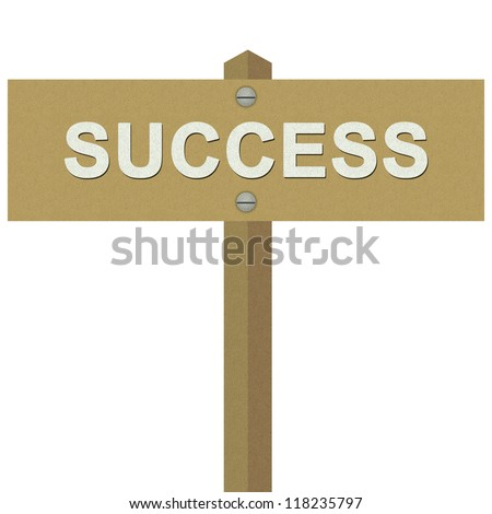 Success Road Sign For Business Solution Concept Made From Recycle Paper Isolated on White Background - stock photo