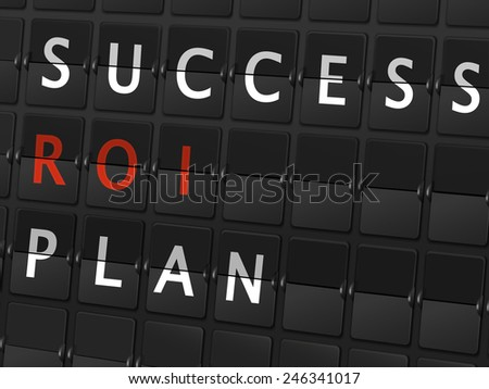 success ROI plan words on airport board background - stock photo