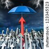 Success security and safe investment financial concept with a group of arrows going up and an individual successful red arrow being protected by an umbrella from the storm. - stock photo