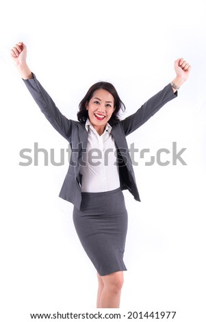 Success. Shouting businesswoman with raised hands  isolated on white - stock photo
