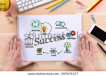 SUCCESS sketch on notebook - stock photo