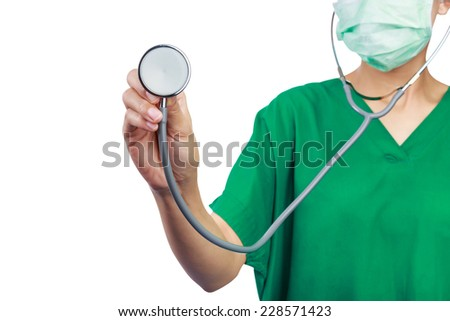 success smart medical doctor working isolated on white background.Clipping path - stock photo