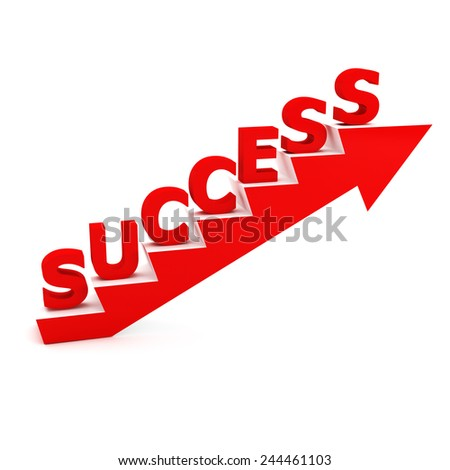 success stairs 3d with arrow - stock photo