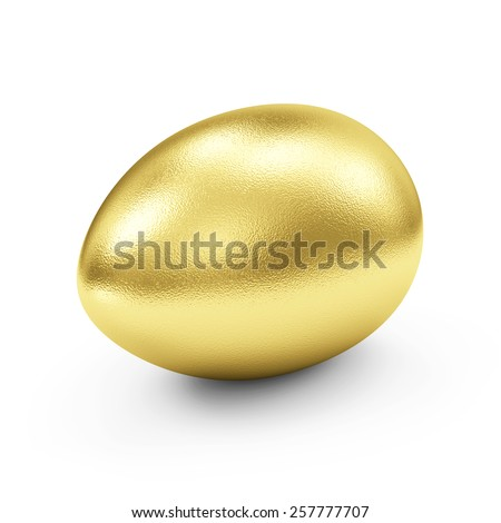 Success Symbol or Happy Easter Concept. Big Golden Egg isolated on white background - stock photo