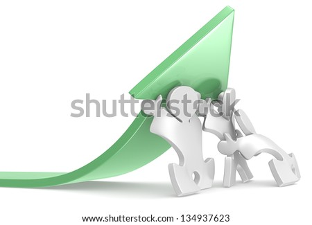 Success. Team of Puzzle People pushing an Arrow. Green. - stock photo