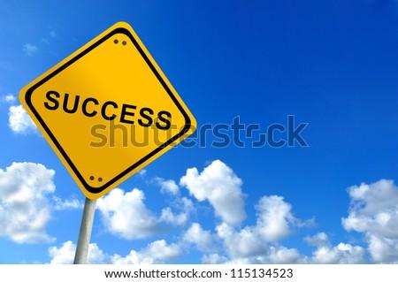 Success  traffic sign on bluesky - stock photo