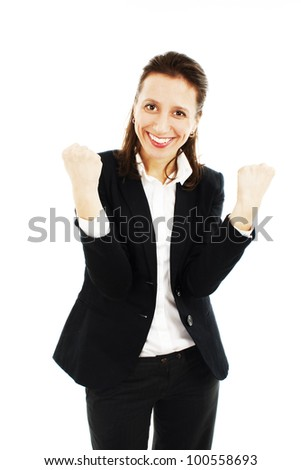 Success / winner business woman isolated. Funny image of celebrating happy young businesswoman - stock photo