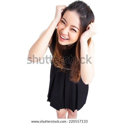 Success / winner businesswoman isolated. Funny image of celebrating happy young businesswoman in full length with her arms up. High angle view with near fish eye effect. isolated on white background. - stock photo