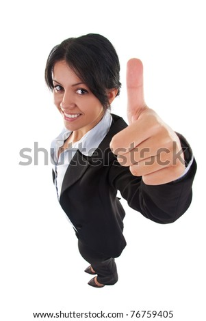 Success woman isolated giving thumbs up sign. Business woman in high and wide angle view - stock photo