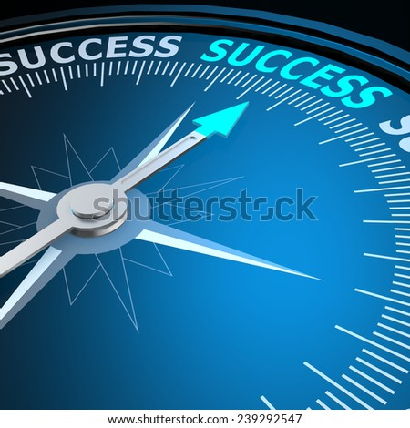 Success word on compass image with hi-res rendered artwork that could be used for any graphic design. - stock photo