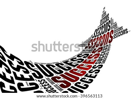 SUCCESS word on word cloud road sign shape - stock photo
