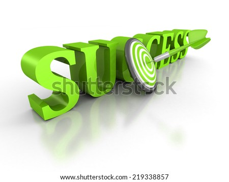 SUCCESS word with green dart arrow in center of target. 3d render illustration - stock photo