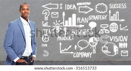 Successful African american businessman over grey background. - stock photo