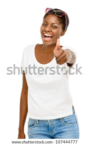 Successful African American student holding thumbs up white background - stock photo