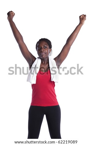 successful african young woman after her exercise (isolated on white) - stock photo