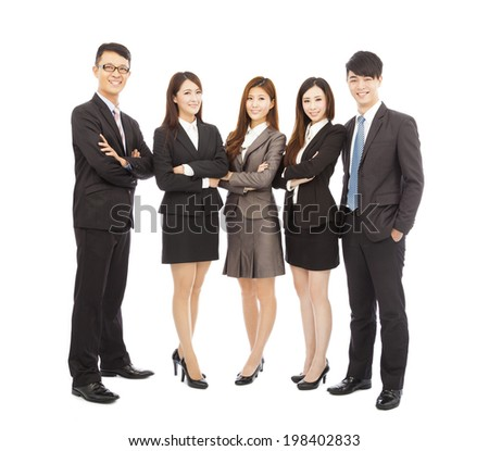 successful asian young business team standing together - stock photo