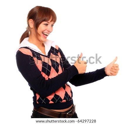 Successful attractive woman showing his thumb up. - stock photo