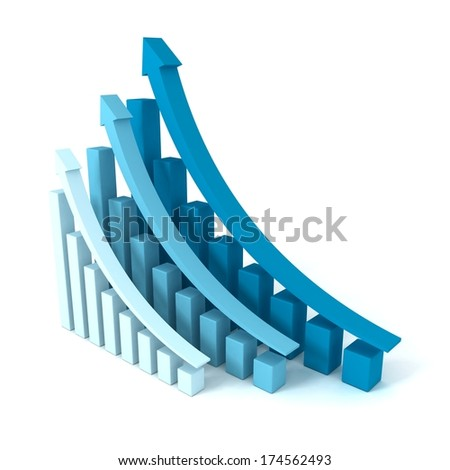 successful blue business graphs rising up grow arrows - stock photo