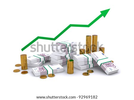 successful business graph with arrow and growth of money, packs of euros - stock photo