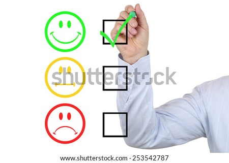 Successful business man choosing good service quality - stock photo