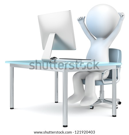 Successful business man. 3D little human character sitting by computer screen with arms up. People series. - stock photo
