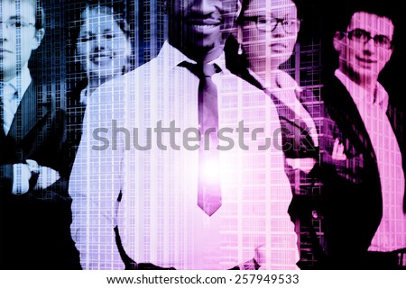 Successful business people and a city. Double exposure creative concept. - stock photo