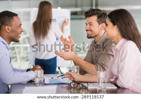 Successful business people sitting at conference room and working on business strategy. - stock photo