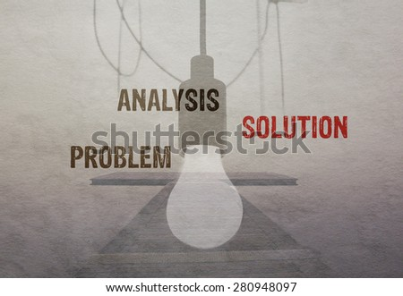 Successful business projection concept. Problem analysis solution text on vintage paper - stock photo